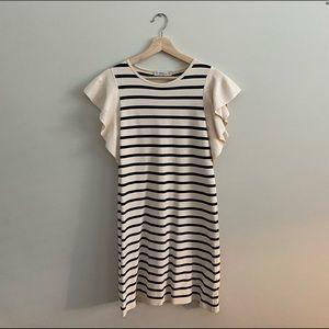 Zara Striped Ruffle Sleeve Dress